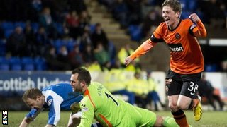 Ryan Gauld celebrates scoring for Dundee United against St Johnstone