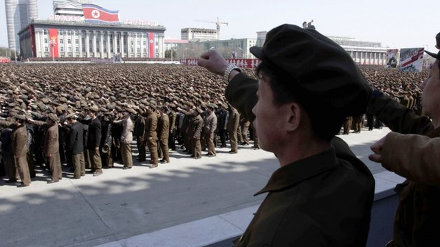 North Koreans at a rally