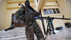 Seleka rebels guard presidential compound in Bangui. 25 March 2013