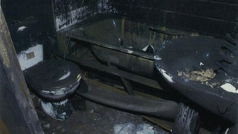 Fire damage to bathroom at 18 Victory Road