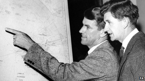 George Lowe, right, with Sir Edmund Hillary
