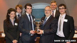 School pupils, Annie Asquith, Stuart Duffy, Calum Grant and Daniel Gross with Charlie Bean, Deputy Governor at the Bank of England