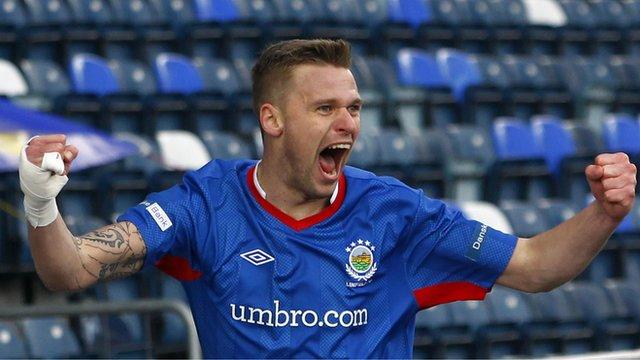 Linfield's Peter Thompson celebrates his goal against Glentoran