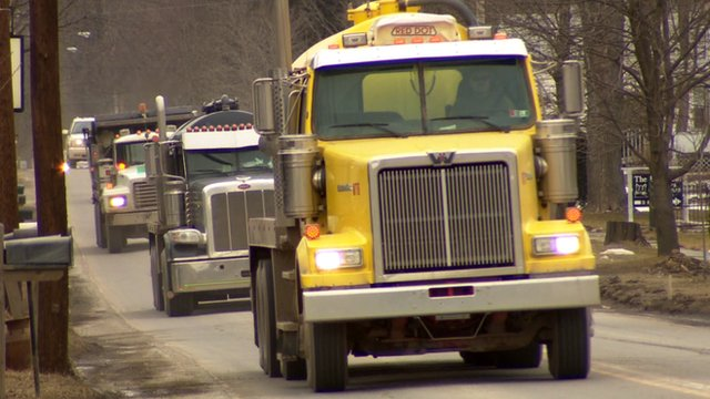 Fracking trucks in Pennsylvania
