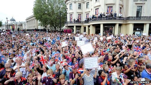 Crowd in UK celebrating the Olympics. File pic: 2012