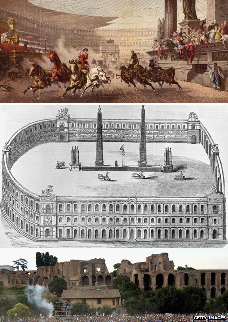 From top, an artist's impression in 1754, 17th Century artwork of Circus Maximus, and the stadium today