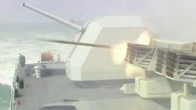 Weapon fires from warship