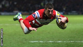 Jonny May scores for Gloucester