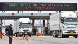 South Korean trucks arrive from North Korea's Kaesong Industrial Complex at the inter-Korean transit office in Paju near the Demilitarized Zone