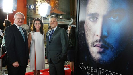 Martin McGuinness and Peter Robinson with Irish actress Michelle Fairley from Game of Thrones