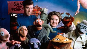 Jane and Jim Henson with Muppets