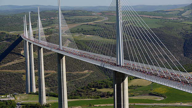 Millau bridge in Massif Central, France