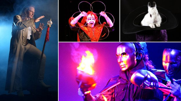 Clockwise from left: Magician Losander, Jeff McBride performing a routine with rings, a rabbit in a hat, and McBride's masks routine