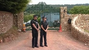 Officers outside Joss Stone's home