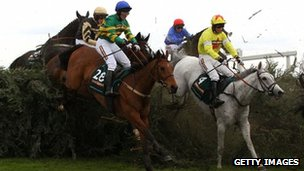 Sunnyhillboy and Neptune Collonges compete in the 2012 Grand National