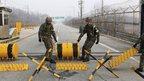 South Korean soldiers at border crossing. 4 April 2013