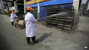 A worker spays disinfectant on to chicken cages at a wholesale market on 3 April 2013 in Shanghai, China
