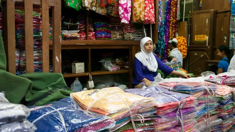 A Muslim stall owner in Mandalay market