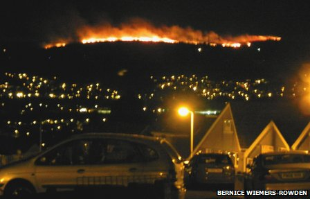 Fire above Morriston as viewed from Llansamlet