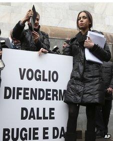 Karima El-Mahroug outside the Milan court