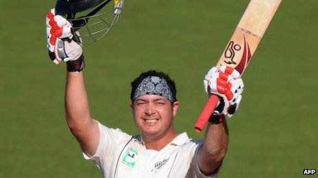Jesse Ryder celebrates after scoring a century fro New Zealand in April 2009