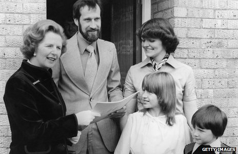 Margaret Thatcher hands over deeds to the King family of Milton Keynes, among the first to buy their council house under the Right to Buy in 1979