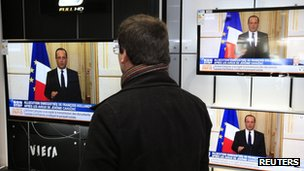 Francois Hollande speaking on French television