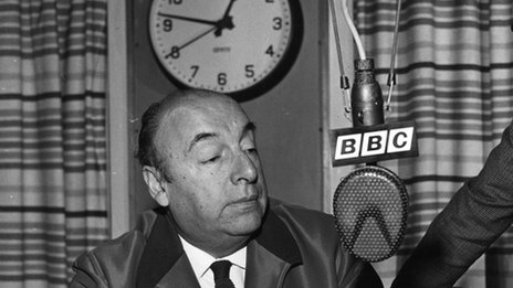 Pablo Neruda in the BBC studios in 1965