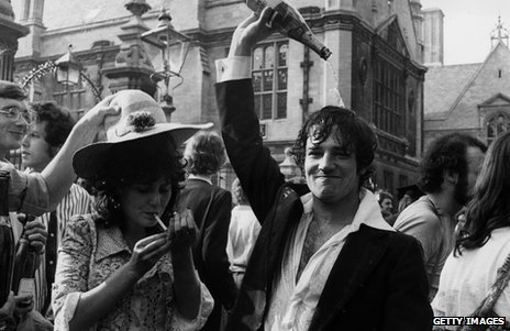 Students at Oxford University celebrate the end of exams in 1976