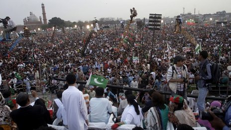 Supporters of Pakistan Tehreek-e-Insaf, or the Movement for Justice take part in a rally in Lahore, Pakistan on Saturday, March 23, 2013.
