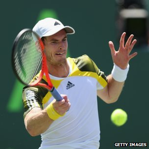 Andy Murray in action in the Sony Open