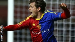 Valentin Stocker celebrates scoring for Basel