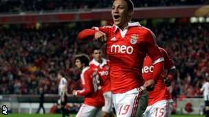 Rodrigo Machado celebrates scoring for Benfica