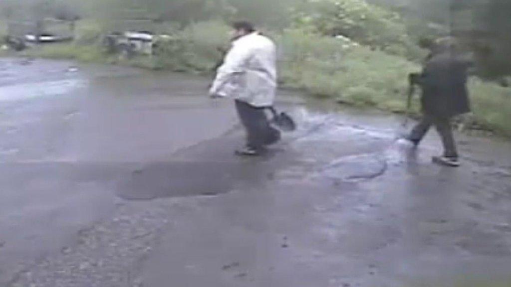 Stuart Wareham and Benjamin Walter caught on CCTV having just buried the body