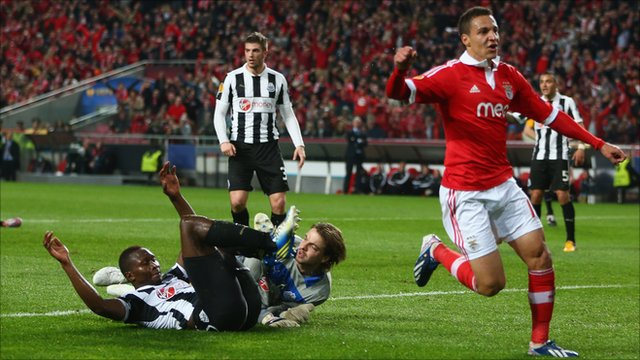 Rodrigo of Benfica celebrates scoring his sides opening goal