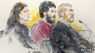 Colorado shooting suspect James Holmes and his public defenders Tamara Brady and Daniel King are pictured in a courtroom sketch during a hearing in Centennial, Colorado 1 April 2013