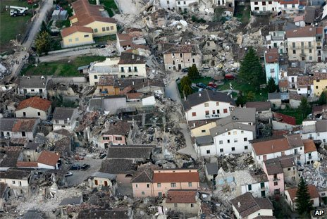 Quake-striken village near L'Aquila