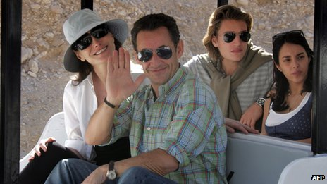 Nicolas Sarkozy and his then girlfriend - now wife - Carla Bruni in 2007