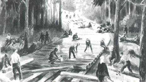 Illustration of a prison camp