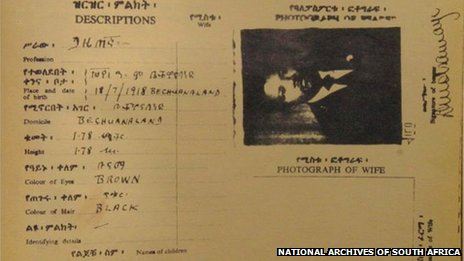 Nelson Mandela's fake passport under the alias of David Motsamayi