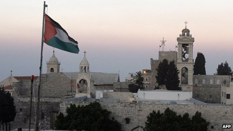 Palestinian flag flies in front of Church of the Nativity (file photo)