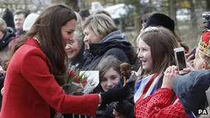 Duchess of Cambridge speaks to youngsters on visit to Dumfries House
