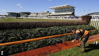 Fences at Aintree racecourse