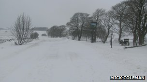 The A515 blocked with snow