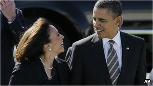 President Barack Obama and attorney general Kamala Harris (April 2013)