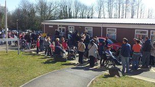 MMR jab clinic queue at Morriston Hospital