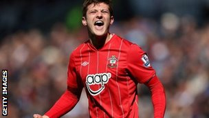 Adam Lallana celebrates scoring for Southampton