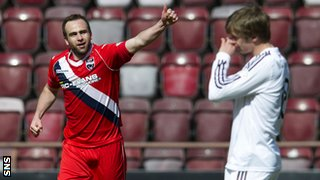 Steffen Wohlfarth celebrates scoring for Ross County against Hearts