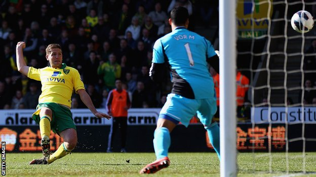 Michael Turner puts Norwich ahead against Swansea City