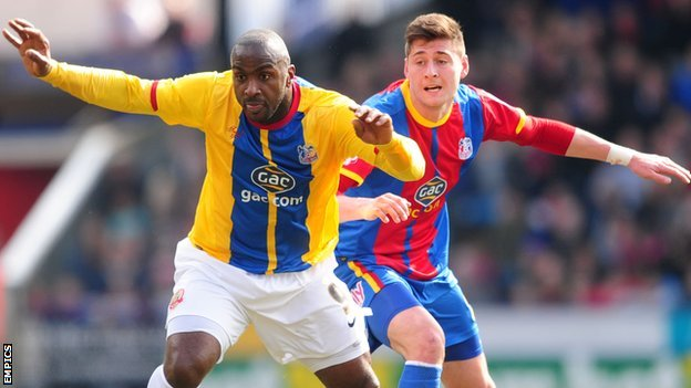 Barnsley's Jason Scotland and Crystal Palace's Joel Ward